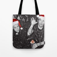 larry stylinson Tote Bags featuring Larry Stylinson Funny Cookie Christmas B&W by girllarriealmighty