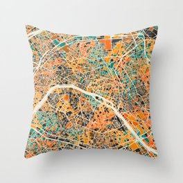 Paris mosaic map #2 Throw Pillow