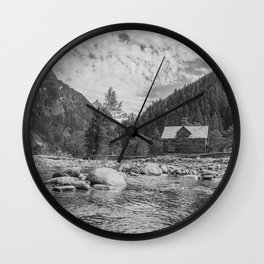 Cabin on the River Wall Clock