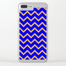 Blue and Gold Zig Zag Pattern Clear iPhone Case