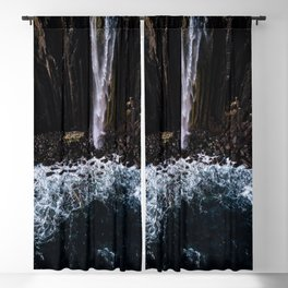Aerial of Basalt waterfall flowing into the Atlantic ocean on the Isle of Skye - Landscape Photo Blackout Curtain