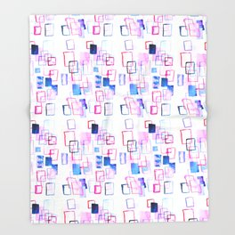Abstract Watercolor Rectangles Throw Blanket