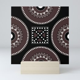 African tribal geometric decor, black, brown, white. Mini Art Print