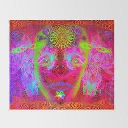 Psychedelic Sugar Skull (Halloween) Throw Blanket