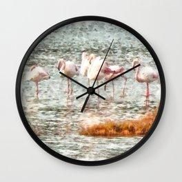 Six Flamingos A Wading Watercolor Wall Clock