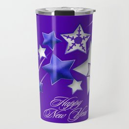 Blue and Purple Happy New Year Shooting Stars  Travel Mug