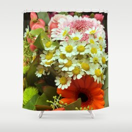 Colorful Floral: Daisies and Mums Shower Curtain