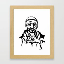 St. Francis of Assisi black and white block print style Framed Art Print