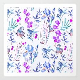 Modern purple blue watercolor hand painted orquid butterfly Art Print