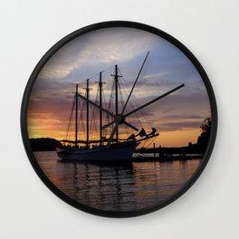 Schooner at sun rise Wall Clock