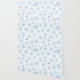 Stars And Snowflakes Light Blue Wallpaper