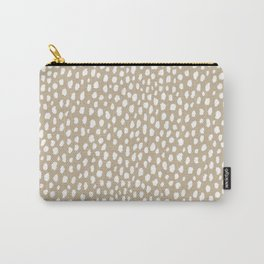 Handmade polka dot brush spots (white/tan) Carry-All Pouch