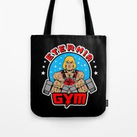 gym Tote Bags featuring Eternia Gym by Buby87