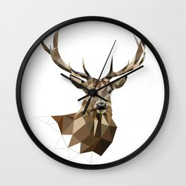 Geometric deer Woodland art Forest animals Brown and gray Wall Clock