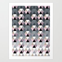 Geometric Prisme Pattern - Pink & Grey Art Print