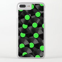 Vinyl Records Pattern (Green) Clear iPhone Case