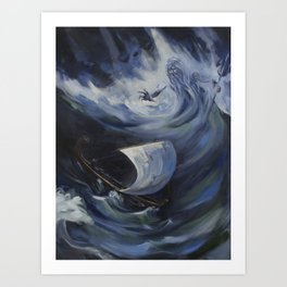 Odysseus and Poseidon Art Print