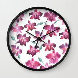 Hand drawn pattern Beautiful watercolor pink Orchid Wall Clock