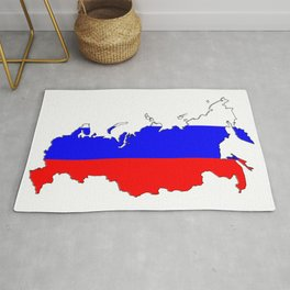 Russia Map with Russian Flag Rug
