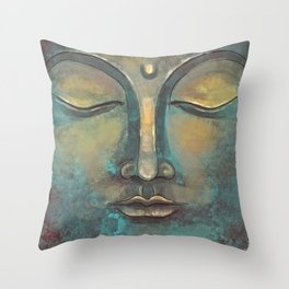Rusty Golden Copper Buddha Face Watercolor Painting Throw Pillow