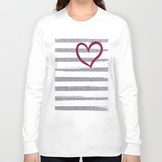 Red Heart on Shiny Silver Stripes Long Sleeve T-shirt