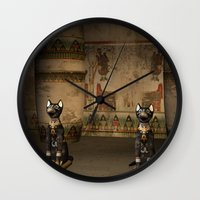 egypt Wall Clocks featuring Egypt temple  by nicky2342
