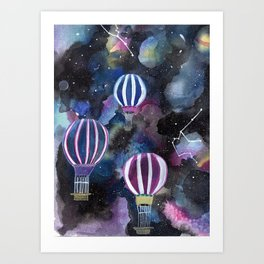 Hot Air Balloon in Galaxy Sky Art Print