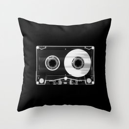 Black and White Retro 80's Cassette Vintage Eighties Technology Art Print Wall Decor from 1980's Throw Pillow