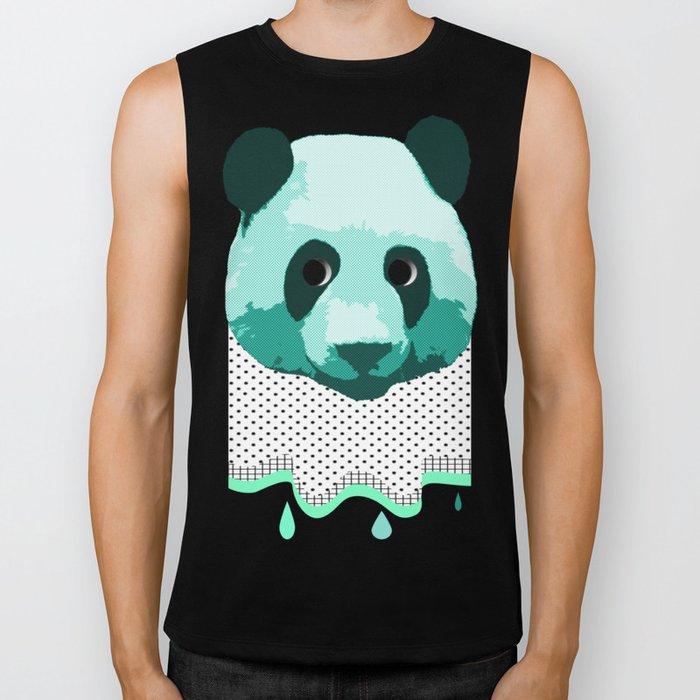 the blue panda who was melting black and white Biker Tank
