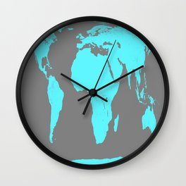 World Map Gray & Turquoise Wall Clock