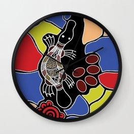 Authentic Aboriginal Art – Platypus Dreaming Wall Clock