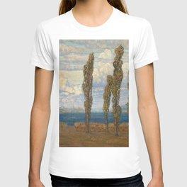 Landscape with lake and poplars by Hélène Funke T-shirt