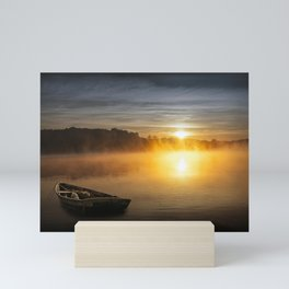 Peaceful Sunrise over a Lake with Rowboat Mini Art Print