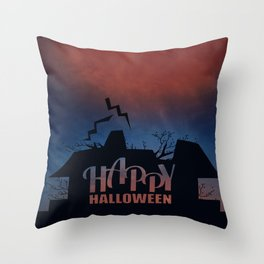 Happy Haunted House Throw Pillow