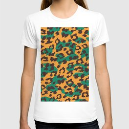 Modern orange brown jade green animal print T-shirt