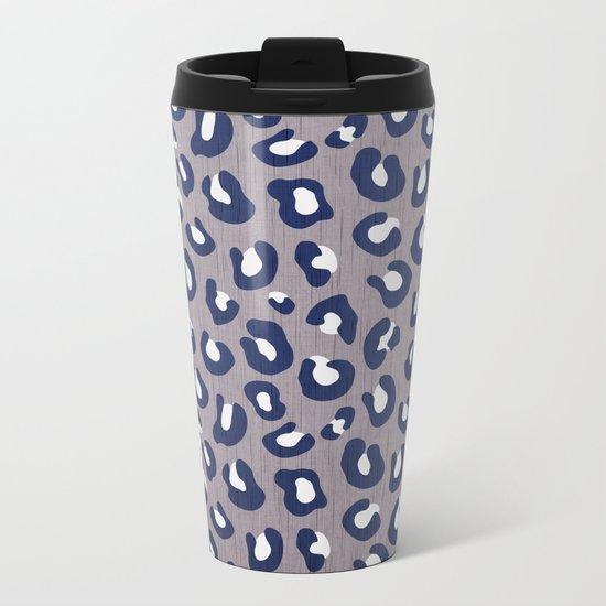LEOPARD PRINT - NAVY ON GRAY Metal Travel Mug