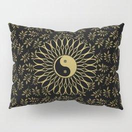 'Yin Yang Golden Daisy' Gold Black mandala Pillow Sham