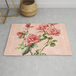 Vintage garden coral red Victorian roses on washed blush pink watercolor Rug