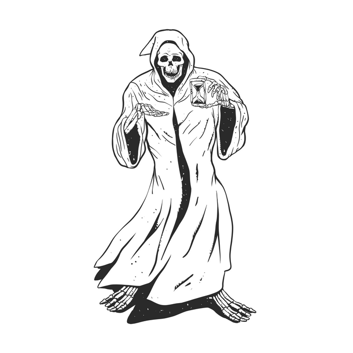 Grim reaper holding an hourglass -  black and white Comforters