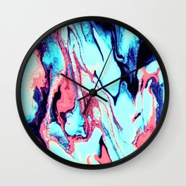 Turquoise Blue Rose Marble Background Wall Clock