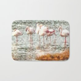 Six Flamingos A Wading Watercolor Bath Mat