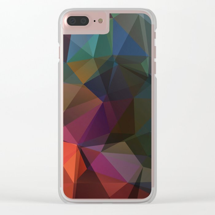 Colored polygon pattern. Clear iPhone Case