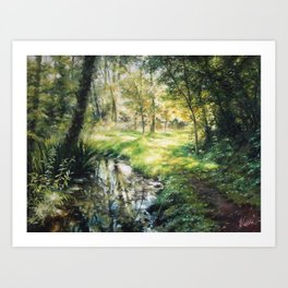 Landscape of a forest and river Art Print
