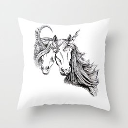 Conjoined Unicorns Throw Pillow