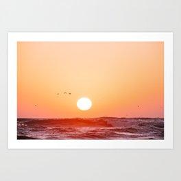 Big setting sun at the ocean at sunset. Ocean Shores, USA Art Print