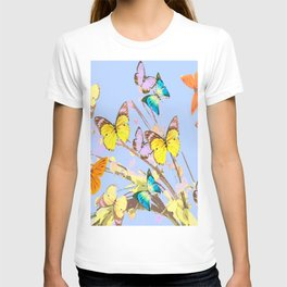 Playing butterflies on a summer day - lovely blue sky background - cheerful and happy T-shirt