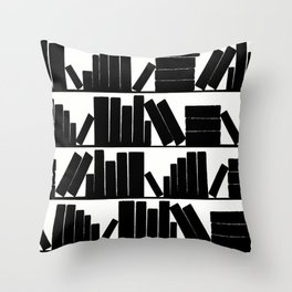 Library Book Shelves, black and white Throw Pillow
