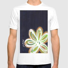 Navy and Gold Flower Mens Fitted Tee White MEDIUM
