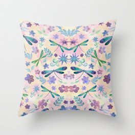 Dragonflies and Flowers Watercolor Pattern Spring Background Throw Pillow