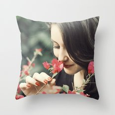 The Flower Lady Throw Pillow